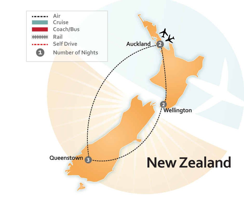 New Zealand Highlights Vacation Map
