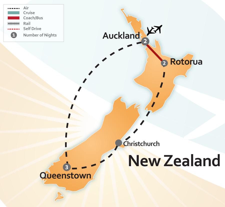 New Zealand Vacation Map